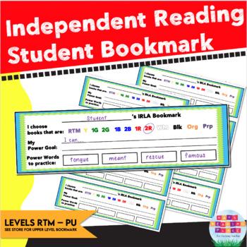 IRLA Student Bookmarks - Power Goal, Power Words, IRLA Levels RTM - Purple
