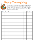 IRLA Thanksgiving Reading Log *Editable