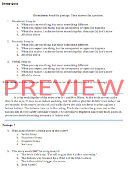 IRONY QUIZ - (editable) 3 Types of Irony - Multiple Choice Reading Passages Test