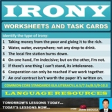 IRONY WORKSHEETS AND TASK CARDS
