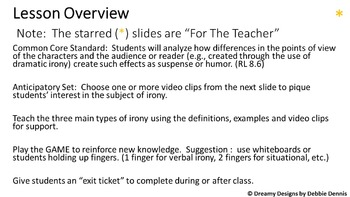IRONY teaching powerpoint w/ GAME, VIDEO CLIPS, differentiation 5 6 7 8 9 middle