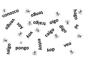 IRREGULAR YO FORMS IN SPANISH. -GO VERBS. MATAMOSCAS. FLYSWATTER.