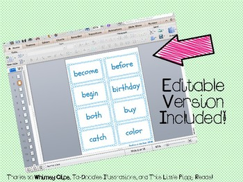 """IRLA Aligned """"1B"""" Sight Words Flash Cards - Color and B/W w/ Editable File"""