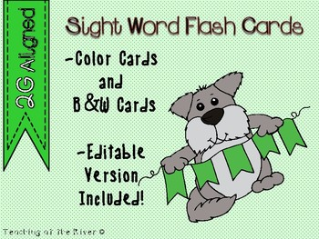 "IRLA Aligned ""2G"" Sight Words Flash Cards - Color and B/W w/ Editable File"