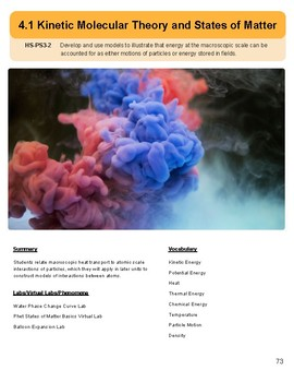 IS 4.1 NGSS Lesson Plans Kinetic Molecular Theory and States of Matter