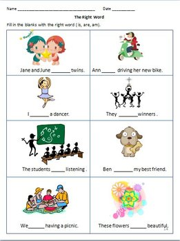 IS , ARE,  AM, WAS & WERE - past & present forms of  the ' to be ' verbs