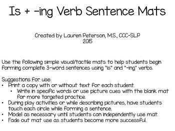 IS + -ING Verb Sentence Mats **FREEBIE!**