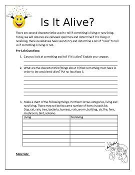 IS IT ALIVE? Characteristics of life lab