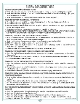 Autism Considerations IEP Guidance