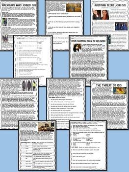 ISIS articles & reading comprehension bundle, Terrorism, Syria