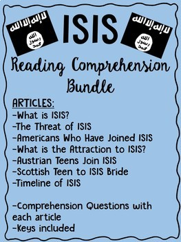 ISIS articles & reading comprehension worksheets, Terroris