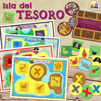 ISLA DEL TESORO - PIRATAS Juego de Memoria / Matching game in Spanish