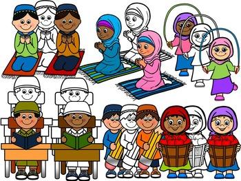 ISLAMIC KIDS CLIP ART- MUSLIM KIDS CLIP ART- COMMERCIAL USE (61 IMAGES)