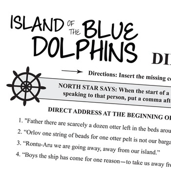 THE ISLAND OF THE BLUE DOLPHINS Grammar Commas Direct Address