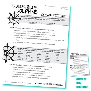 THE ISLAND OF THE BLUE DOLPHINS Grammar Conjunctions Interjections