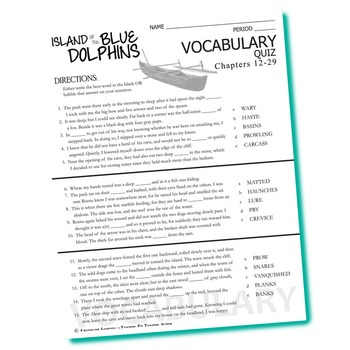 THE ISLAND OF THE BLUE DOLPHINS Vocabulary List and Quiz (chapters 12-29)
