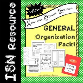 ISN Organization Printables and Post It Rubric!
