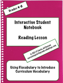 Interactive Student Notebook Reading Lessons -  Curriculum Vocabulary