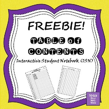 ISN Table of Contents editable FREEBIE!