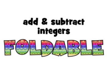 ISN foldable & PowerPoint instructions: ADD & SUBTRACT INTEGERS