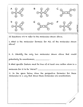 ISOMERS: Worksheets and Molecular Model Lab Activity (Focus on Stereoisomers)