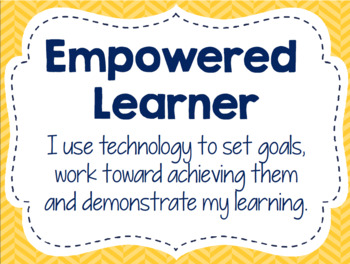 "ISTE ""I am a Digital Learner"" Bulletin Board 2016 Standards (Blue Gold Edition)"