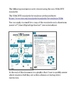 REVISED: ISTE I CAN TECHNOLOGY STATEMENTS POSTERS