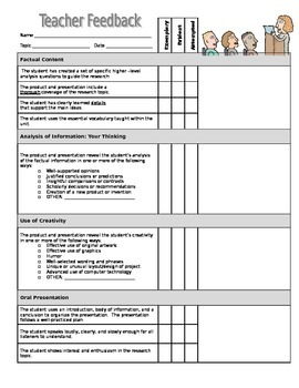 ISearch Teacher Rubric