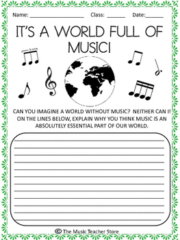 EARTH DAY MUSIC ACTIVITY:  A WORLD FULL OF MUSIC!