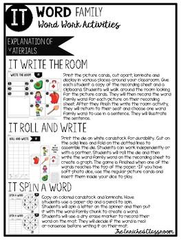 IT Word Family Word Work Activities