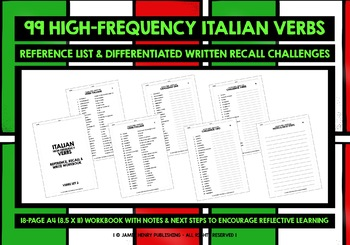 ITALIAN VERBS GAMES CARDS & RECALL WORKBOOK #2