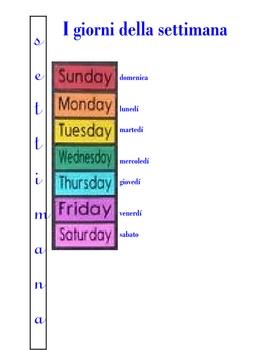 ITALIAN - I giorni della settimana (Days of the week) and KEY