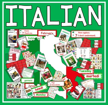 ITALIAN LANGUAGE RESOURCES -DISPLAY FLASHCARDS POSTERS WOR