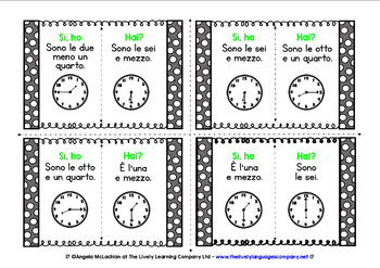 ITALIAN TELLING TIME (1) - I HAVE, WHO HAS? 2 GAMES, 2 CHALLENGES!
