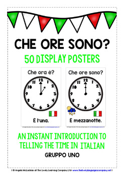 ITALIAN TELLING TIME (1) 50 POSTERS PACK - O'CLOCK, HALF PAST, 1/4 TO & PAST
