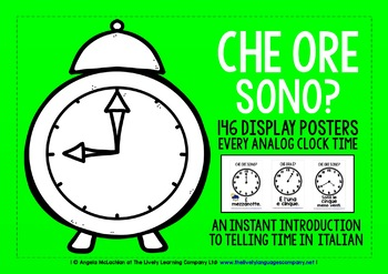 ITALIAN TELLING TIME 146 POSTERS PACK - ALL ANALOG CLOCK TIMES!
