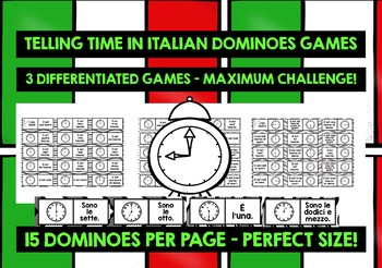 ITALIAN TELLING TIME - 3 DIFFERENTIATED DOMINOES GAMES (1)