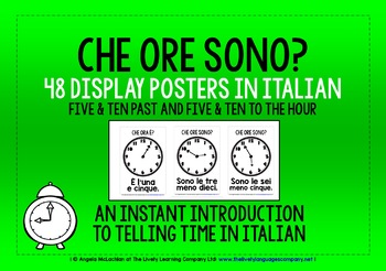 ITALIAN TELLING TIME 48 POSTERS / FLASHCARDS (2)