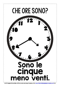 ITALIAN TELLING TIME 48 POSTERS / FLASHCARDS (3)