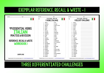 ITALIAN VERBS (1) - GAMES & ACTIVITIES PACK FOR PRACTICE & REVISION - 99 VERBS