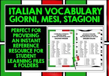 ITALIAN DAYS, MONTHS, SEASONS VOCABULARY REFERENCE LIST