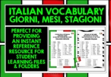 ITALIAN DAYS, MONTHS, SEASONS VOCABULARY REFERENCE LIST