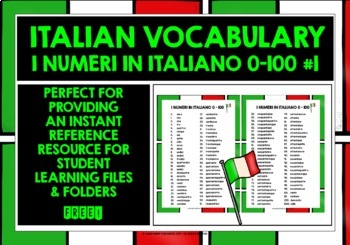 ITALIAN NUMBERS 0-100 VOCABULARY REFERENCE LIST