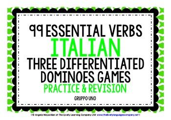 ITALIAN VERBS (1) - 3 DOMINOES GAMES, 3 CHALLENGES!