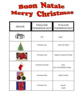 ITALIAN Christmas Vocabulary And Key