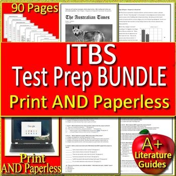 Iowa - ITBS Test Prep Bundle - ELA and Reading Practice Tests Grades 5, 6, 7 & 8