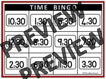 TELLING TIME TO THE HALF HOUR ACTIVITY BINGO GAME