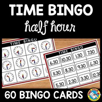 TIME BINGO: TIME TO THE HALF HOUR + TIME MATCHING GAME: TI
