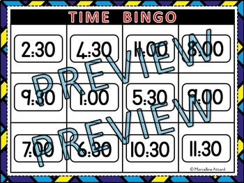 TIME ACTIVITIES: TIME BINGO (TIME TO THE HOUR AND HALF HOUR)+TIME GAME(MATCHING)
