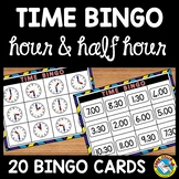 TELLING TIME TO THE HOUR AND HALF HOUR BINGO ACTIVITY OR GAME